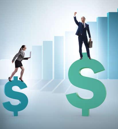 Concept of inequal pay and gender gap between man woman Zdjęcie Seryjne