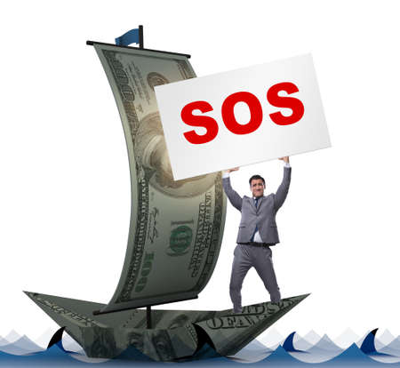 Businessman asking for help with SOS message on boat Banque d'images - 132766771