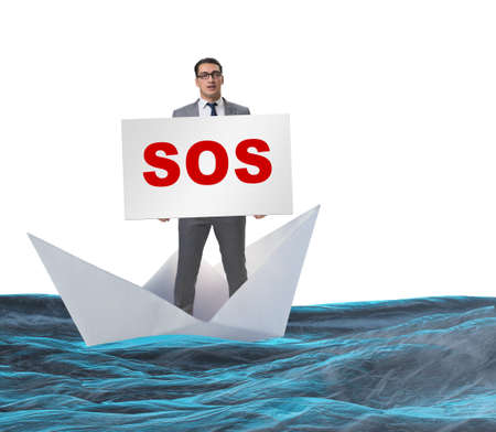 Businessman asking for help with SOS message on boat Banque d'images - 132765980