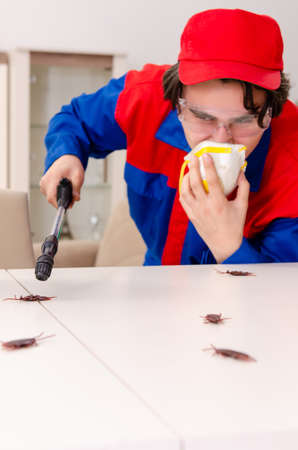 Young contractor doing pest control at home Stock Photo