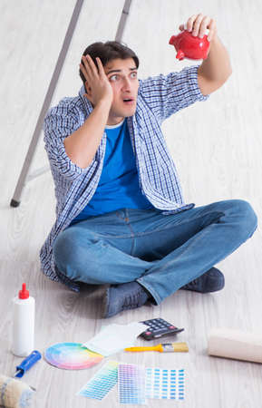 若い男は改装プロジェクトで彼の予算を使い過ぎ