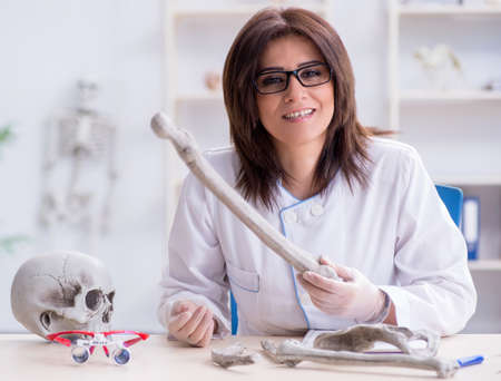 Doctor working in the lab on skeleton 스톡 콘텐츠 - 132911238