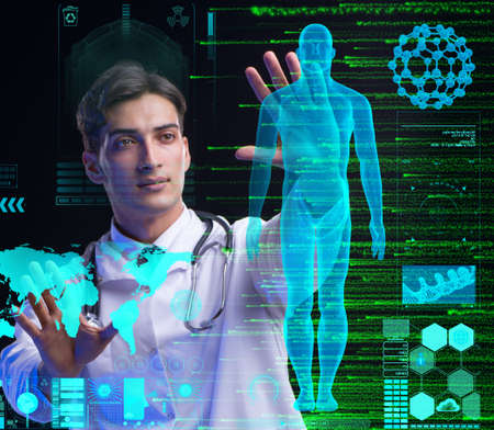 Concept of telemedicine with male doctor