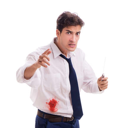Wounded businessman with blood stains isolated on white backgrou Stock Photo
