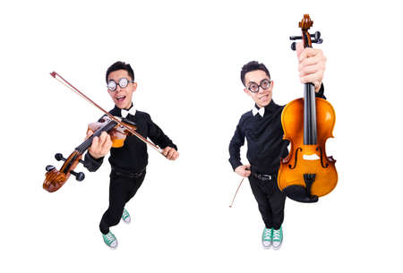 Funny man with violin on white
