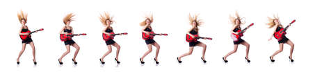 Female guitar player isolated on white
