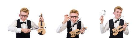 Funny violin player isolated on white 写真素材