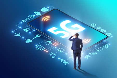 Businessman in 5g high internet speed concept 스톡 콘텐츠 - 133150237