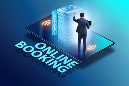 Concept of online hotel booking with businessman 스톡 콘텐츠 - 133150238