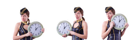 Sailor with clock isolated on white Banque d'images - 133124861