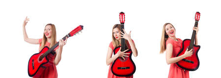 Woman playing guitar isolated on white 写真素材