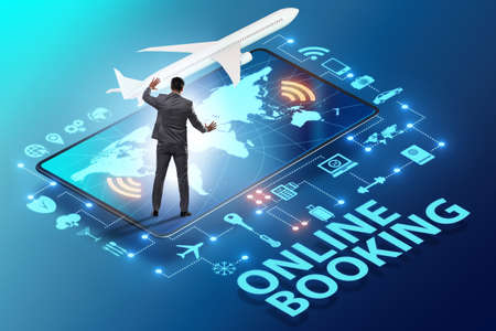 Concept of online airtravel booking with businessman 스톡 콘텐츠 - 133124901