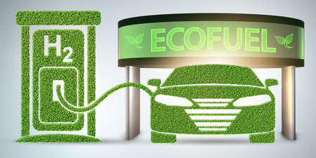 Het concept van de waterstofauto - 3D-rendering Stockfoto