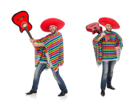 Funny mexican with guitar isolated on white Stock Photo