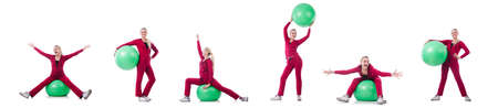 Young woman with ball exercising on whitee Stok Fotoğraf