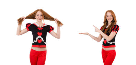 Woman wearing red clothing isolated on white