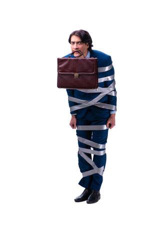 Tied handsome businessman isolated on white Reklamní fotografie