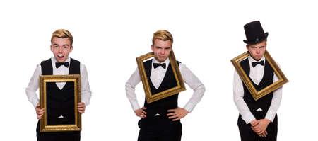 Junger Mann mit Rahmen isoliert auf weiß
