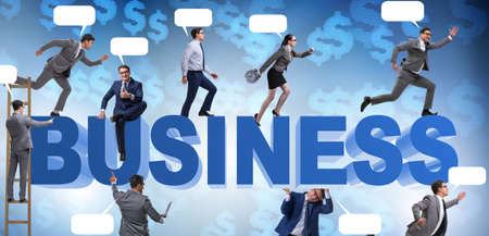 The businessmen in business concept with ladder and bubble callo