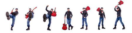 Guitar player isolated on white Reklamní fotografie
