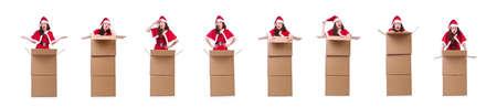 Snow girl santa in christmas concept isolated on white Reklamní fotografie