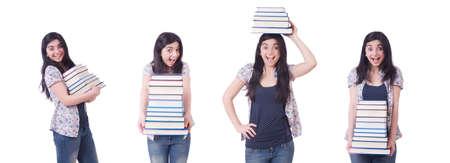 Girl student with books on white Reklamní fotografie