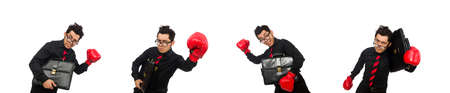 Man businessman with red boxing gloves 版權商用圖片
