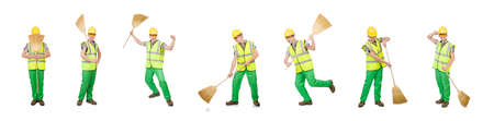 Funny janitor with broom isolated on white Foto de archivo - 134491190