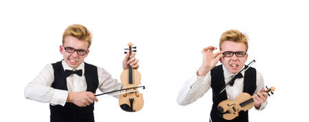 Funny violin player isolated on white Banco de Imagens