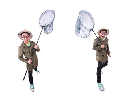 Funny guy with catching net on white Reklamní fotografie