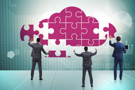 Concept of cloud computing with jigsaw puzzle Stok Fotoğraf