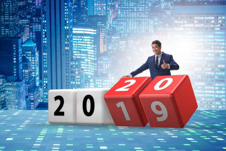 Concept of changing year from 2019 to 2020