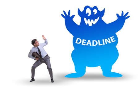 Businessman missing important deadline with monster