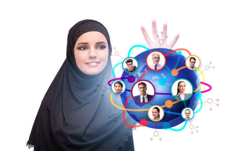 Social networking concept with muslim woman 스톡 콘텐츠