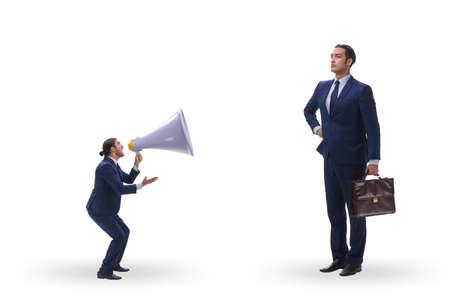 Businessman shouting through large loudspeaker Stock fotó
