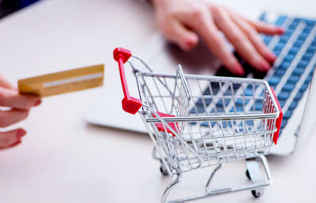 The businesswoman buying online using plastic credit card