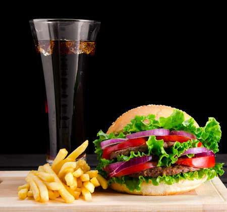 The burger served in bun in nutrition fast food concept Stock Photo