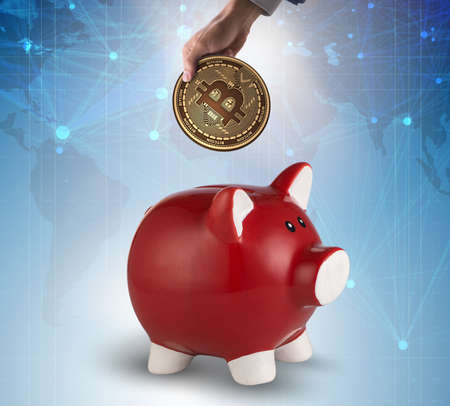 The bitcoin saving with piggybank in business concept