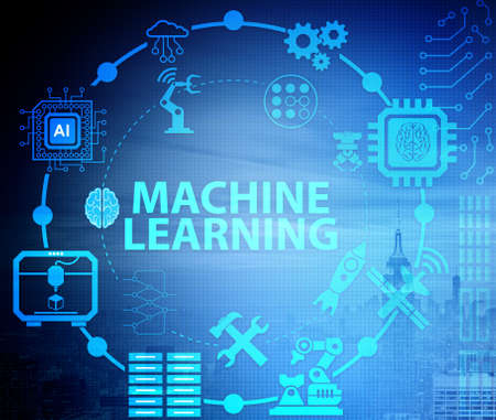 Concept of modern IT technology with machine learning Stock Photo - 135395239