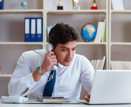 Businessman operator agent working in the office