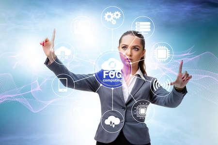 Businessman in edge and fog computing concept 免版税图像