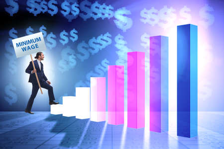 Konzept des Mindestlohns mit Geschäftsmann Standard-Bild