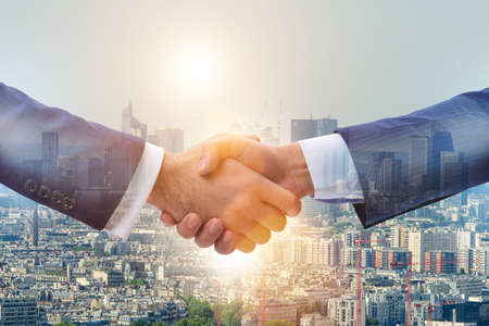 Businessman shaking hands in agreement