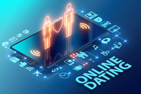 The concept of online dating and matching - 3d rendering