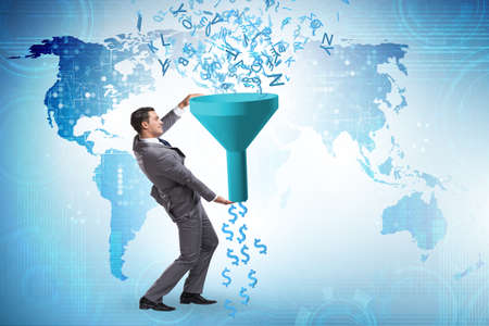 Data monetization concept with funnel and businessman Stock fotó