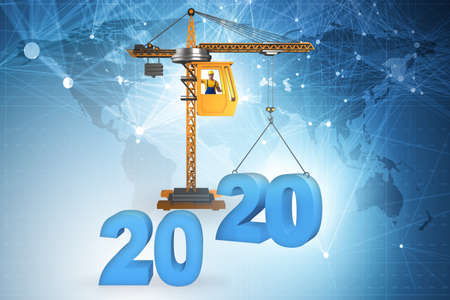 Heavy crane lifting numbers in year of 2020 concept