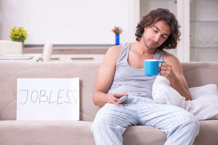 Unemployed man desperate at home