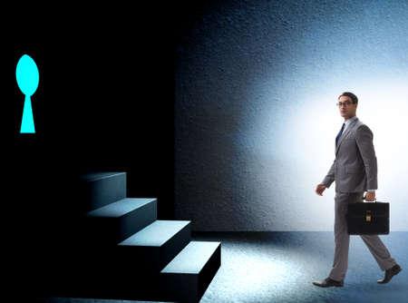 Businessman walking towards keyhole in challenge concept