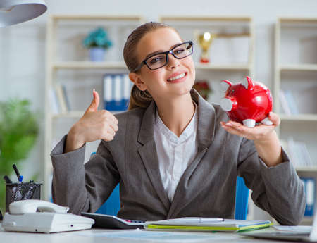 Female businesswoman boss accountant working in the office Stockfoto