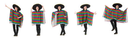 Pretty mexican girl in vivid pocho isolated on white Stock Photo